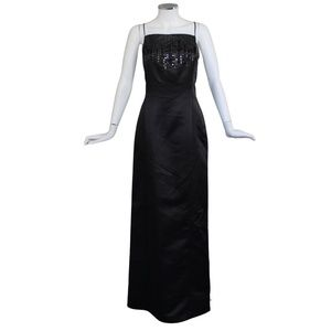 Vera Wang Blk Sequined Full Length Gown - Wedding